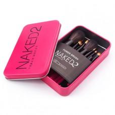Набор кистей NAKED2 в контейнере 12 шт. (розовый)